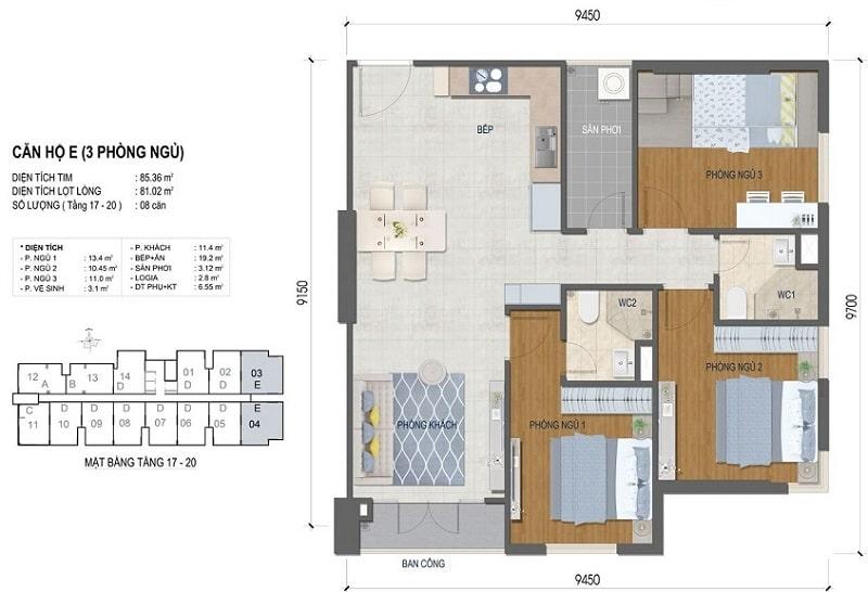 Thiết kế căn hộ West Intela 3 phòng ngủ – Loại E- 85,36 m2