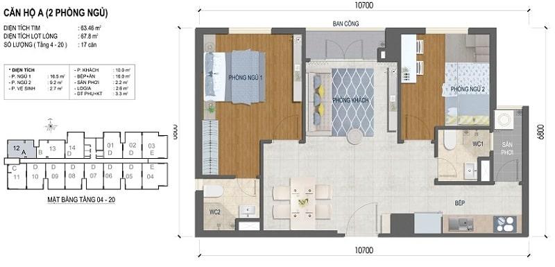 Thiết kế căn hộ West Intela 2 phòng ngủ – Loại A- 63 m2