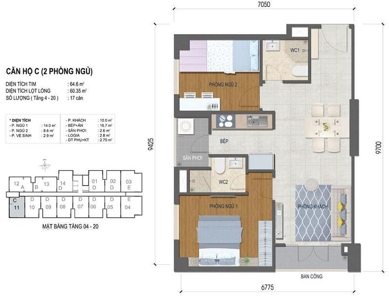 Thiết kế căn hộ West Intela 2 phòng ngủ – Loại C- 64,6 m2